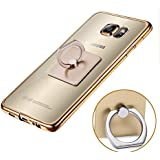 """Nnopbeclik® [Coque Samsung Galaxy S7 Edge Silicone] """"3D Rectangle Style"""" Soft/Doux Transparente Backcover Housse pour Samsung Galaxy S7 Edge Coque anti choc [G935F] (5.5 Pouce) Antiglisse Anti-Scratch Etui - [Rectangle Or]"""