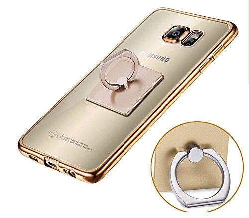Preisvergleich Produktbild Samsung Galaxy S6 Edge Plus(2015)Ring Hülle- Ultra Slim TPU Silikon Transparent , Schutzhülle Muster Stoßdämpfend Transparent Spiegel Schutz Handy Hülle Tasche Etui Bumper Samsung Galaxy S6 Edge Plus(2015) 5,7-Zoll[Gold Rand,Platz]