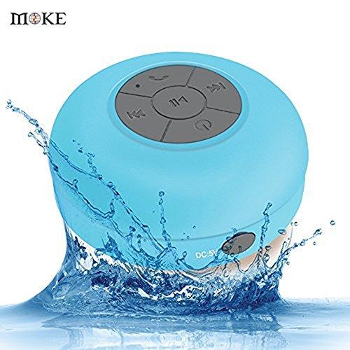 MOKE Mini impermeable sin hilos de Bluetooth 3.0 altavoz manos libres portátil Ducha Mic (azul)