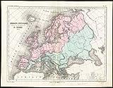 Mapa antiguo-físico ThePrintsCollector geográficamente Europa-Cortambert-1843