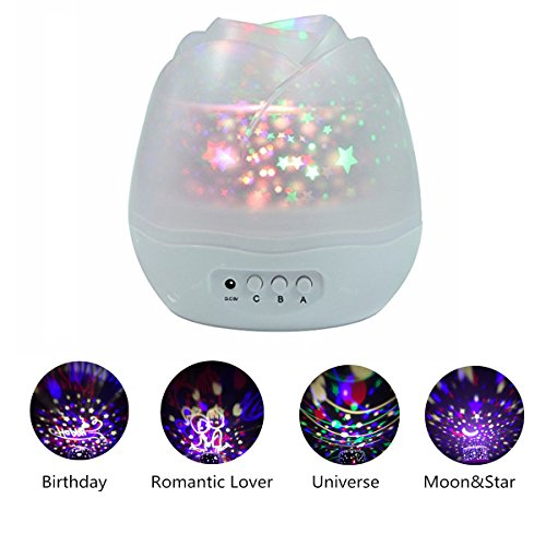 Generic L8 LED Rose Star Auto Rotate 4 Slideshadow Color Changing Night Light-White, Plastik, 12.5 x 12.5 x 12.5 cm