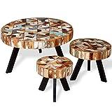weilandeal Drei Stück Couchtisch-Set Massiv Wieder Holz Material: Massivholz Wieder Rund Tisch Rund Tisch