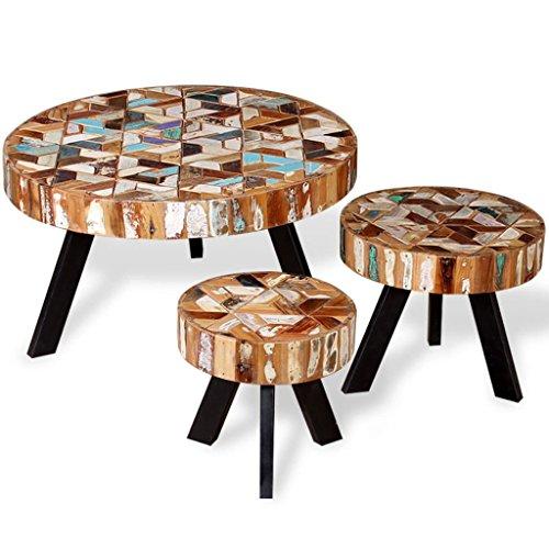 vidaXL Ensemble de Table Basse Table Gigogne 3 pcs Bois de Récupération Massif