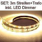 SET LED Strip Streifen WARMWEISS 3 Meter inkl. Netzteil und Dimmer