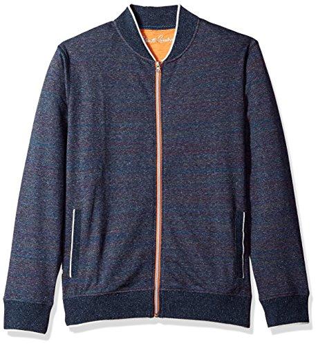 Robert Graham Herren Vagabond Cotton Full Zip Knit Sweatshirt, Marineblau (Heather Navy), Mittel - Zip Knit Jumper