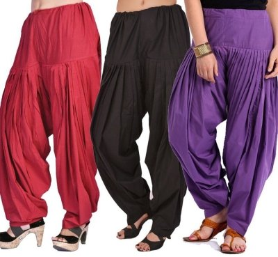 Pistaa Combo of Women Cotton Maroon, Black and Purple Full Patiyala Salwar...