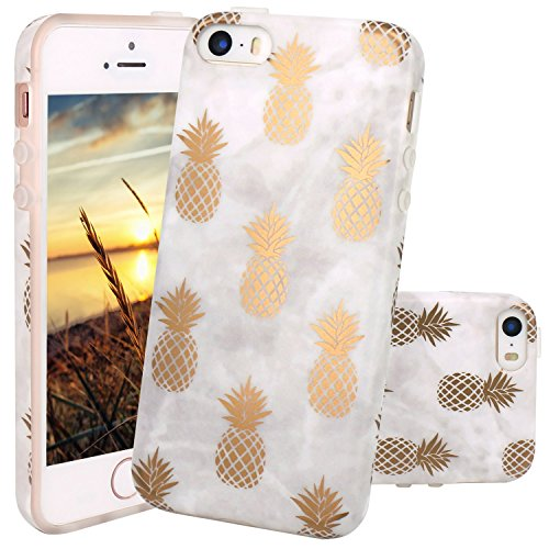 Coque iPhone 5 5S SE, JIAXIUFEN Silicone TPU Étui Housse Souple Antichoc Protecteur Cover Case - Shiny Gold Pineapple Gray Désign
