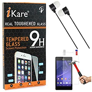 iKare Tempered Glass for Sony Xperia T3, Tempered Screen Protector for Sony Xperia T3 + Black Stereo Earphone with Mic