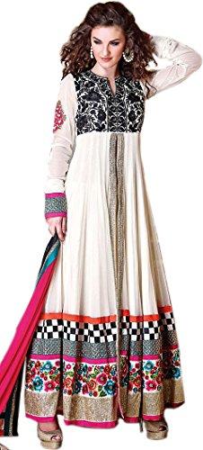 Exotic India Egret-White Anarkali Suit with Ari Embroidery and Sequins - WhiteGarment Size Medium