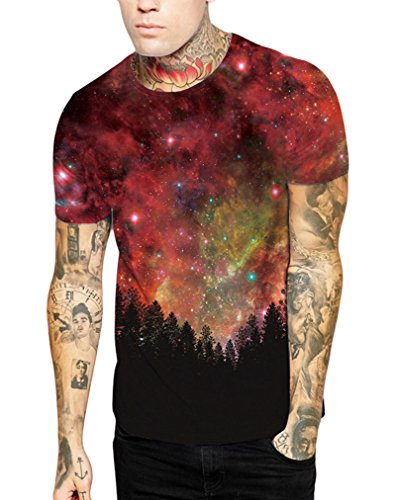 Pretty321 Men Women Universe Galaxy Stars & Nature 3D Slim Fit T-shirt  Collection Forest