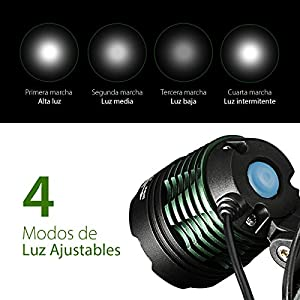 Linterna Frontal LED Cabeza con recargables batería 3000Lum 4 Modo de Luz y hasta 6 Horas Linterna Cabeza Alta Potencia para Camping, Pesca, Luz de Emergencia