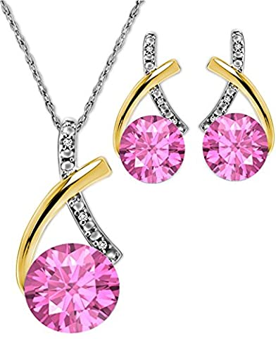 Pretty Jewellery 14k Two Tone Gold Finish 925 Silver Round Pink Sapphire & White Simulated Diamond Solitaire Pendant & Earrings