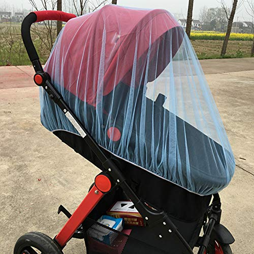 Wokee Insektenschutz Mückennetz für Kinderwagen,reißfest,waschbar,Insektennetz Kinderwagen Moskitonetz Full Insect Cover Carriage Kind Faltbare Kinder Netting (Blau) - Reisebett Cover Mesh