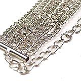 Cloud9Basic Rhodium Silber Metall Rhinestone Classic Kettengürtel, Diamante Kristallisieren Sparkling Tassel Design für