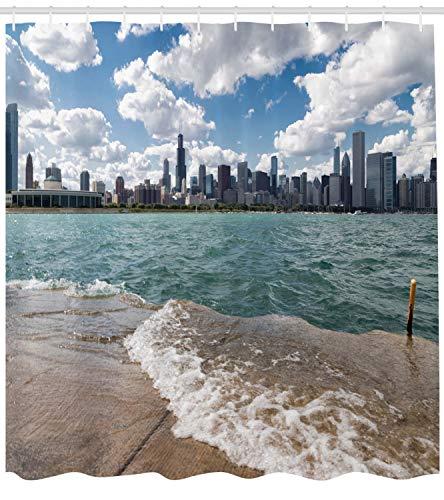 Abakuhaus Illinois Duschvorhang, Chicago Skyline und See, mit 12 Ringe Set Wasserdicht Stielvoll Modern Farbfest und Schimmel Resistent, 175x240 cm, Mehrfarben