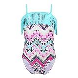dPois Mädchen Bademode Tribal Badeanzug mit verstellbar Spaghetti Träger Tankini Bikini Set Schwimmanzug Swimwear Schwimmbekleidung Gr.98-164 Mintgrün 164/14Jahre