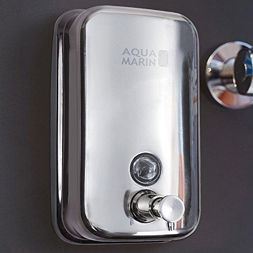 Aquamarin Eleganter Edelstahl-Seifenspender Seifendosierer 800 ml aus Edelstahl zur Wandmontage - ca. 18,5/11,8/11,3 cm