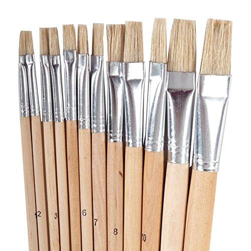 12 PINCEAUX PLATS | différentes tailles, aluminium, poil naturels | artiste, peinture