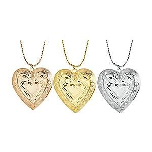 Blisfille Amulett Für Fotos Rose Gold Kette Herren Medaillon Zum Öffnen Mit Kette Damen Herz Graviert Blumen Anhänger Halskette