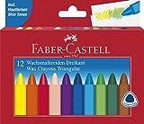 Faber-Castell 120010 - Dreikant Wachsmalstifte, 12er Etui