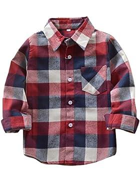 Yying Camisa Niño Manga Larga - Camisa Cuadros Blusa Niños Tops Niñas Camiseta Primavera Otoño Tshirt Tartan Shirt...