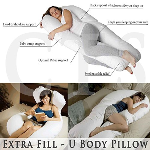 Extra Fill 9 Ft Comfort U Pillow Body Back Support Nursing Maternity Pregnancy Pillow with FREE Removable Cover - MADE IN THE UK