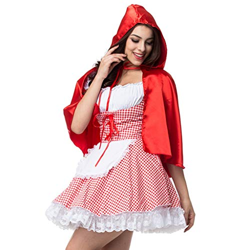 Batman Kostüm The Red Hood - carol -1 Damen Halloween Kostüm Rotkäppchen Kostüm Erwachsene Kleider für Halloween Fest Rollenspiel Kostüm Vintage Cosplay Kleid Karneval Verkleidung Party Nachtclub Kostüm