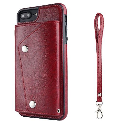 HARRMS Samsung Galaxy Note 8 Handy Phone Leder Schutzhülle Hülle Flip Case Cover Tasche mit Kredit Karten Fach Geldklammer, Rot