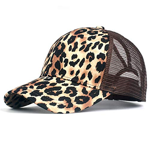 YPORE Leopard Print Summer Ponytail Baseball Cap Mesh Hats for Women Messy Bun Casual Hip Hop Snap Back Hats - Hat Leopard Womens