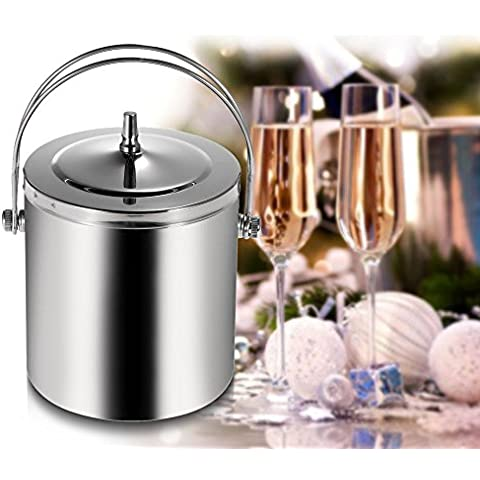 Wrone (TM) de 1,4 L / 1L tapa del cubo de hielo doble pared de acero inoxidable del refrigerador de vino Whisky Wort Chiller ITH y filtro manija portable