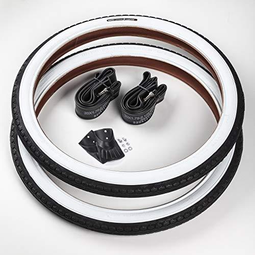 CST 2X Reifen Weißwand 20 Zoll + 2 DV/Dunlop (Blitzventil) Schläuche | 20 x 1.75 | 47-406 Schwarz - Weiß Ventil Decke Mantel Cruiser Klapprad
