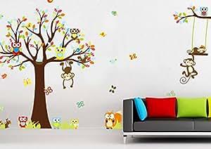 Wandtattoo wandsticker xxl affen tiere kinder baby kinderzimmer wald baum - Amazon kinderzimmer ...