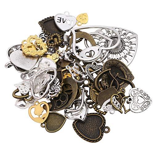 STOBOK 100g Vintage antike DIY gemischte Herzform anhänger Metall Charms schmuck Machen anhänger gemischte Muster ()