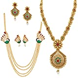 Apara Copper Necklace Set & Peacock Design Mala for Women