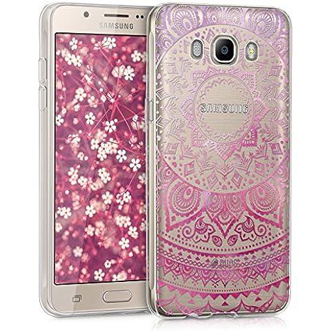 kwmobile Funda TPU silicona transparente para Samsung Galaxy J5 (2016) DUOS en rosa fucsia transparente Diseño sol indio