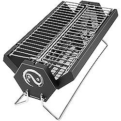 Andake Charcoal Grill - parrilla de barbacoa de carbón de carbón de acero inoxidable plegable con bolsa de transporte - jardín al aire libre de viaje camping road trip barbacoa portátil