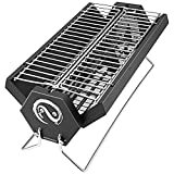 Andake Charcoal Grill, Foldable Stainless Steel Charcoal BBQ Grill with Storage Bag, Super Lightweight Portable Barbecue Grill for Outdoor Garden Travel Camping Road Trip