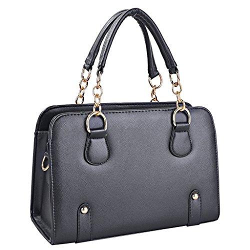 Yisidoo Damen Kette Handtasche Tragetasche Suessigkeit Farben Messenger Bags Leder Totes(Azur Blau) Schwarz