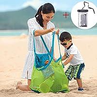 Gudotra Bolsa de Malla Bolsa Playa Arena Juguetes Niños para Almacenamiento Juguetes Playa + Bolsa de plastico Impermeable Transparente para Teléfono
