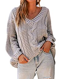ZIYYOOHY Damen Grobstrick Strickpullover V-Ausschnitt Oversize Causal Langarmshirt Sweatshirt Pulli Outwear Mantel