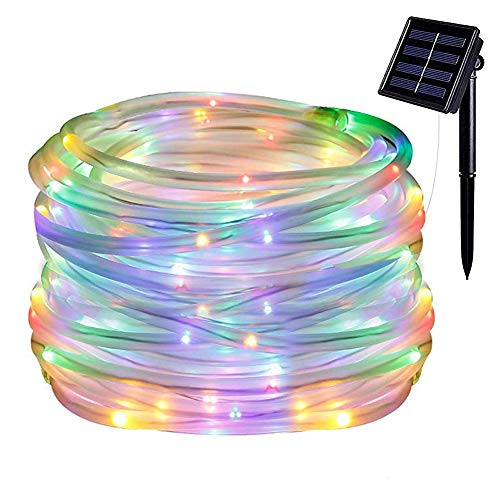 Danolt 39.3ft 100 LED Solar Lichterschlauch, wasserdichte Outdoor-Lichterketten Dekoration für Weihnachten, Halloween, Gärten, Hinterhöfe, Patio, Hochzeiten, Partys.