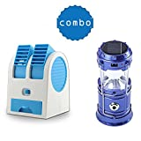 House of Sensation Offer** Portable Desk Table Fan for Office Home USB Electric Air Conditioning With Adjustable Dual Air Outlets With 6 LED Solar Power Camping Rechargable Collapsible Lantern(color as per availability)