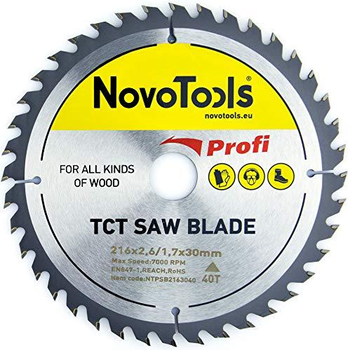 NOVOTOOLS Kreissägeblätter 216 x 30 mm x 40 Zähne zum Sägen in Holz für Handkreissägen. Profi Qualität