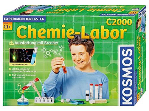 KOSMOS C2000 - Chemielabor, Laborausstattung mit Brenner, 260 Experimente und Einführung in die chemische Formelsprache, Chemie für Kinder ab 11 Jahre, weiterführender Lehrgang, Experimentierkasten
