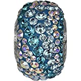 SWAROVSKI pave Water Bead Aquamarine, Aurore Boreale Color Stainless Steel Becharmed 14.50 mm-9.30 mm