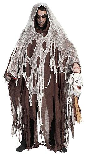 Halloween Umhang mit Kapuze - Braun - Gruseliges Ghul Tod Zombie Kostüm für Halloween, Mottoparty oder Karneval
