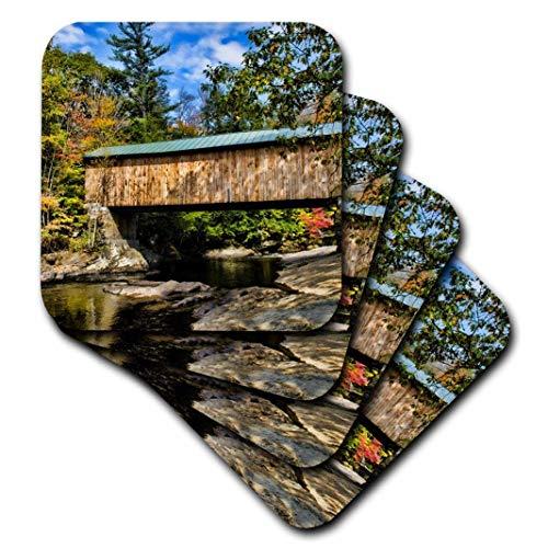 Danita Delimont-Brücken-USA, Vermont, Waterville Ledertasche. MONTGOMERY Covered Bridge mit Fall Blattwerk.-Untersetzer, Gummi, set-of-4-Soft Cst Fall