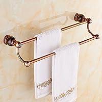 Jade bipolares de toallas, sala de ducha colgante de toallas de baño Toalla de baño barras de cobre europeos las piezas de hardware de mármol rosa de oro 59.5*11cm(Color : #2)