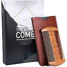 Bartkamm Holz Sandelholz Antistatisch Bartpflege - Weich Fein Griff Mini Comb für Reise Unterwegs Langen Bart - Faux Leder Etui Tasche Taschenkamm - Ideal für den Einsatz mit Bart Öl, Balsam