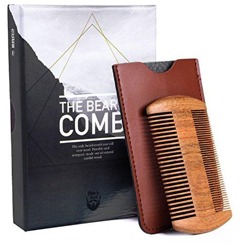 holz Antistatisch Bartpflege - Weich Fein Griff Mini Comb für Reise Unterwegs Langen Bart - Faux Leder Etui Tasche Taschenkamm - Ideal für den Einsatz mit Bart Öl, Balsam (Kleiner Junge Zöpfe)